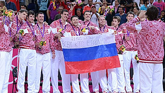 Russia on the podium celebrating bronze at the 2012 London Olympics